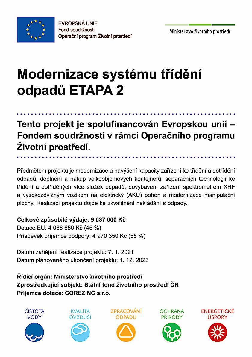 Modernizace systému třídění odpadů ETAPA 2