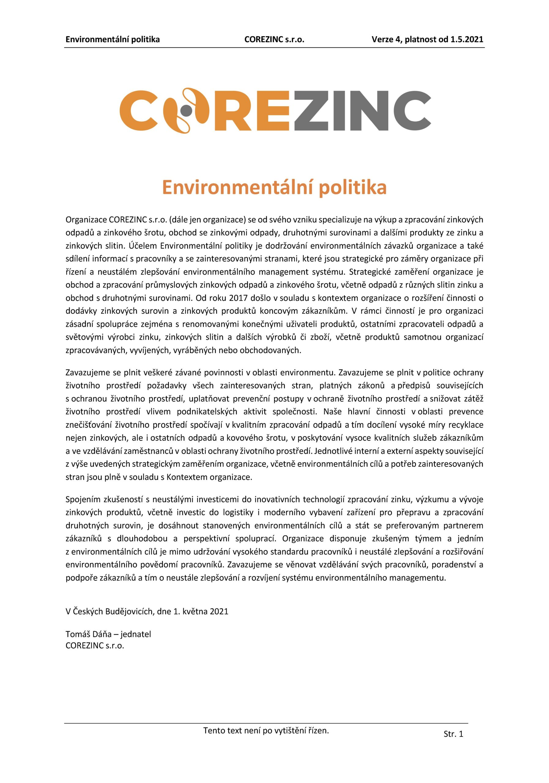 Environmentální politika COREZINC 1.5.2021 CZ