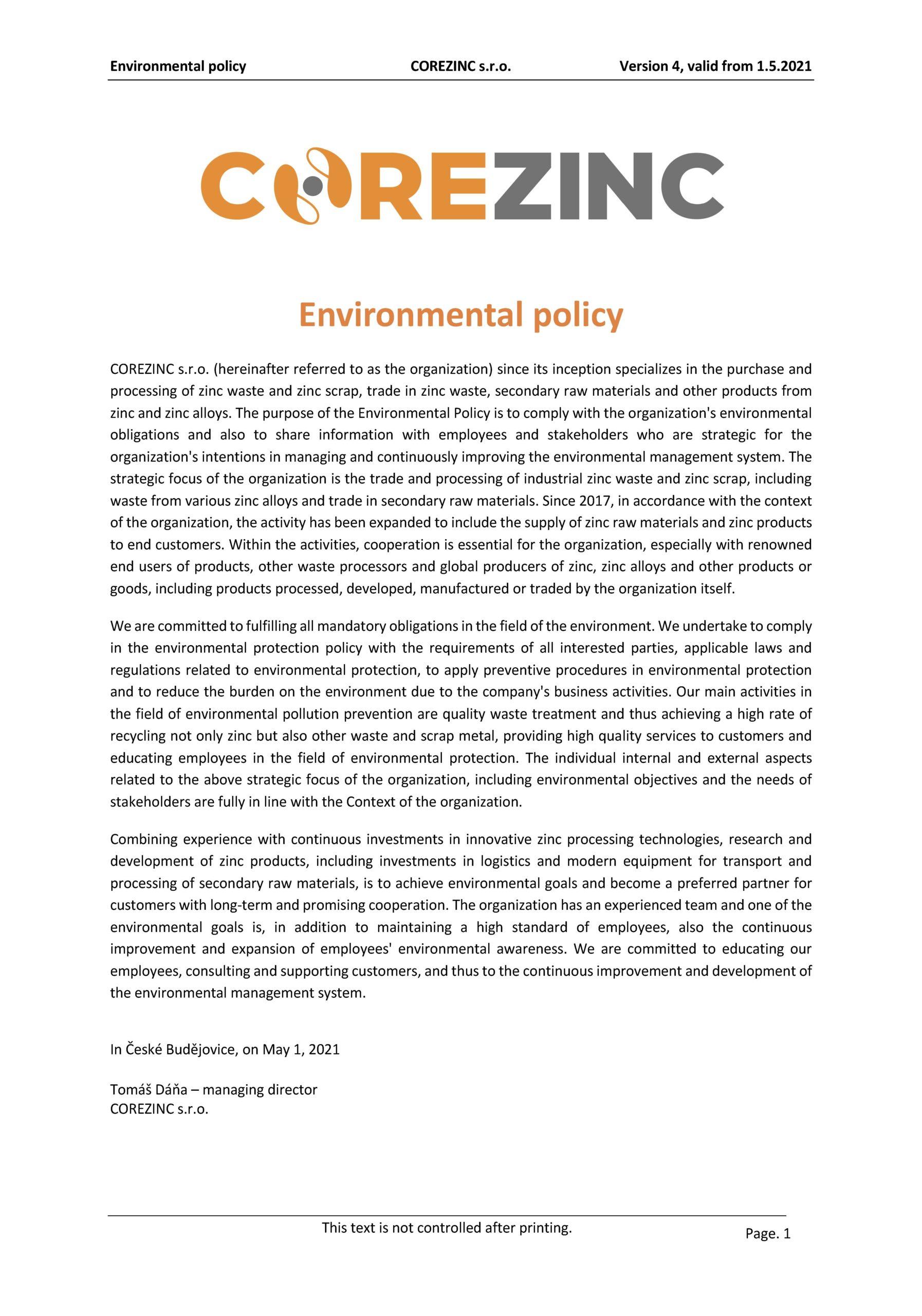 Environmentální politika COREZINC 1.5.2021 EN