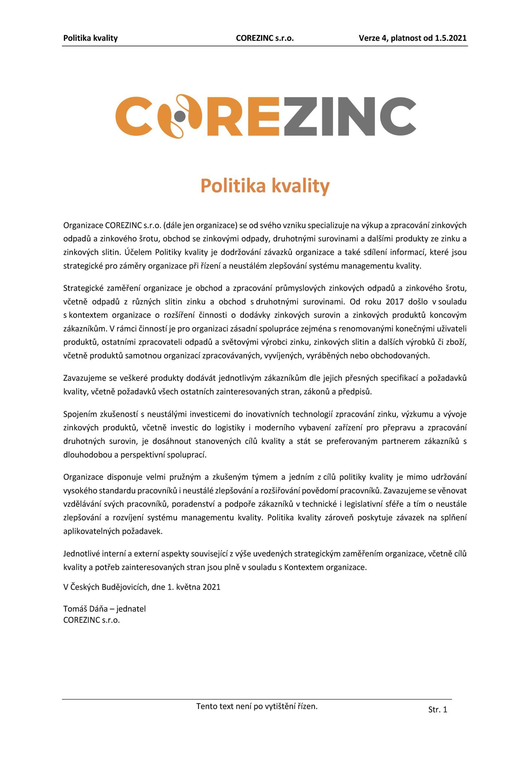 Politika kvality COREZINC 1.5.2021 CZ
