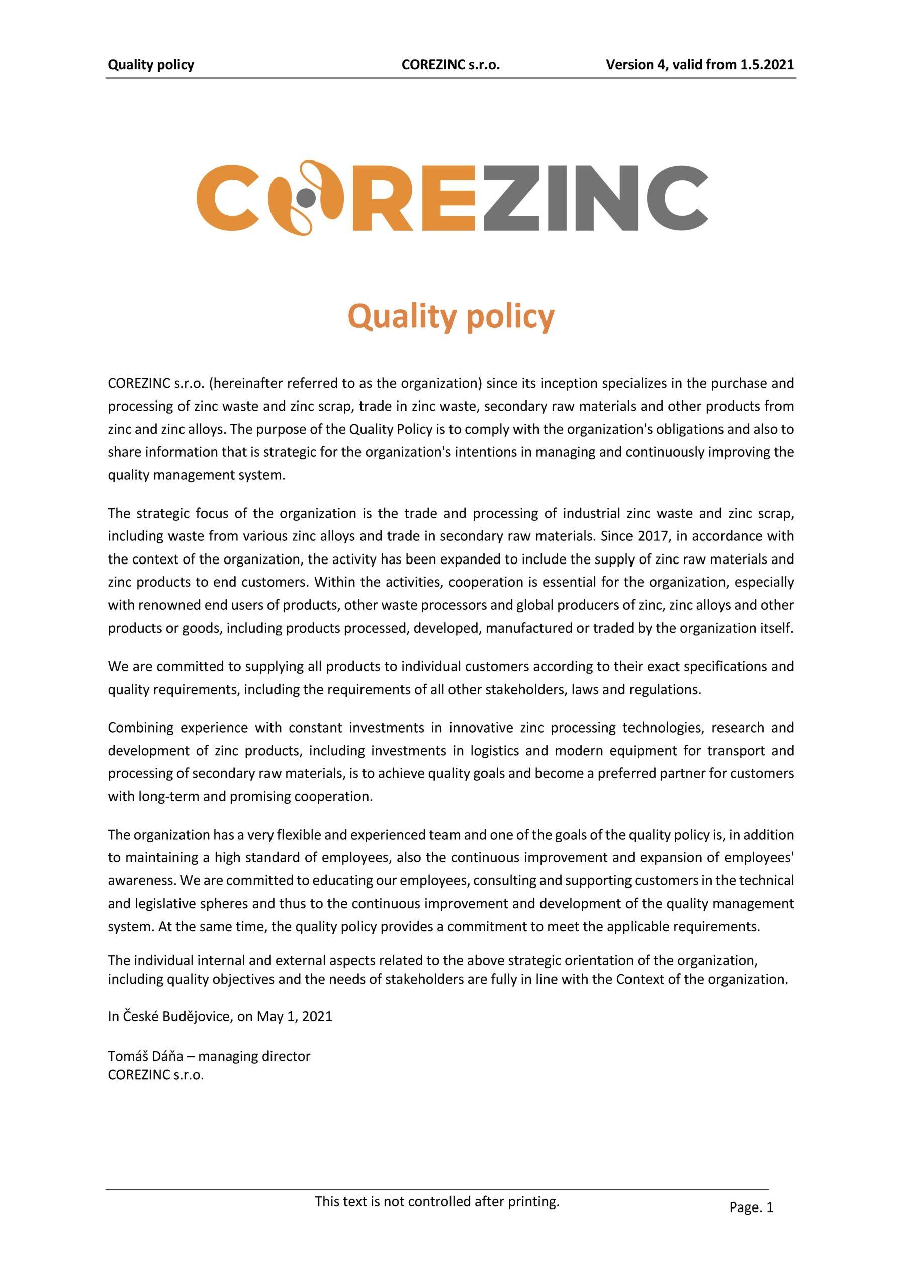 Politika kvality COREZINC 1.5.2021 EN
